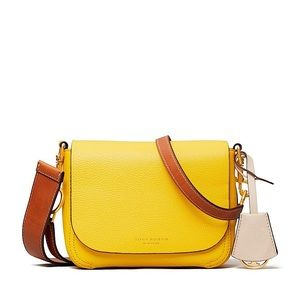 ⭕️ TORY BURCH Perry Flap Bag Yellow Brown Leather